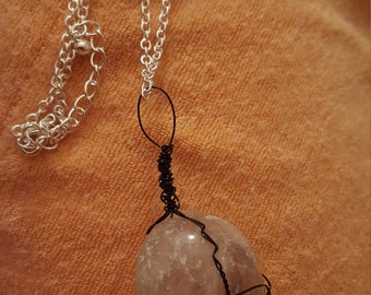 Wire wrapped quartz necklace