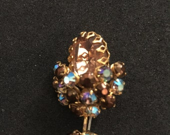 Jeweled Gold Tone Brooch