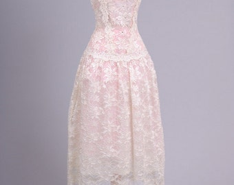 1970 Sheer Lace Vintage Wedding Dress