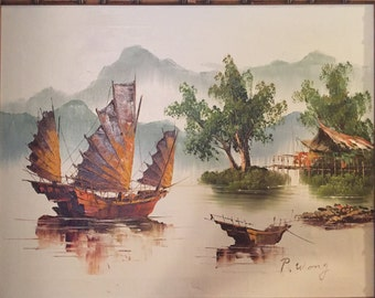 Original Oil Painting by P Wong Of Asian Fishing Boats in Tranquil Water, Coastal Cottage