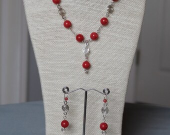 Sterling Silver And Coral Jade Necklace Bracelet Earring Set