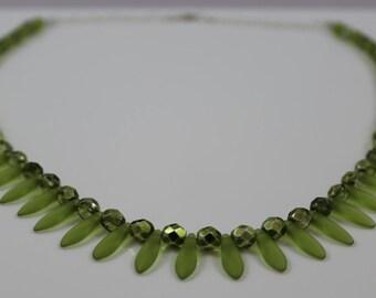 Olivine Czech Glass Necklace