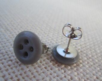 Grey Button Earrings
