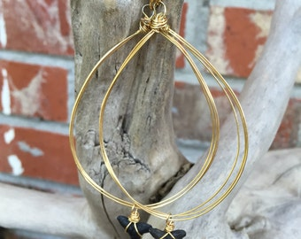 Shark Tooth Gold Triple Hoop Earrings - Black