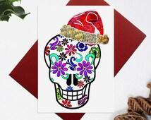 Skull christmas card, Skull xmas card, Skull illustration, Christmas Card for sugar skull lovers, Skull gift card, Calavera christmas card