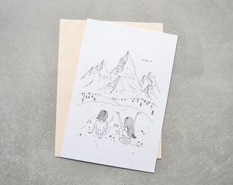 Mountains postcard, simple postcard, illustrated postcard, wander on, wall print