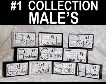 Men Guys Gifts for Men Males Single Stack Wood Sign Handmade Gift Personalized Gift for Him Favorite Male Dad Husband Son Grandpa Papa Uncle