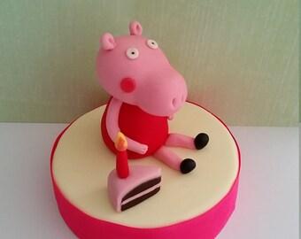 Peppa pig cake topper, fondant & gumpaste