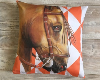 Square pillow horse Andalusian orange or yellow diamond