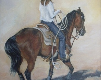Cowgirl painting, western theme art, horse painting, original, roping