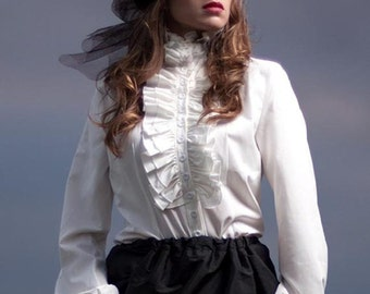 Ready to ship RUNS SMALL Victorian Steampunk Blouse High Neck long sleeve Frill White Ivory button up Shirt