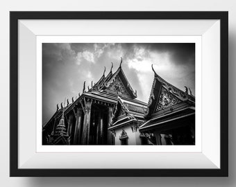 Temples in Thailand, black and white photography, instant download, printable art, wall art decor, architecture photography, fine art photo