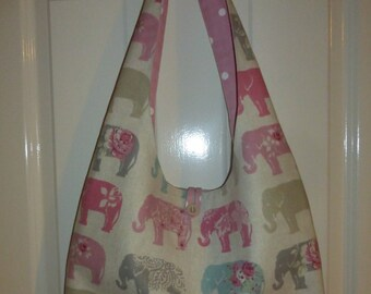 Cotton Boho Handbag in Elephant Print