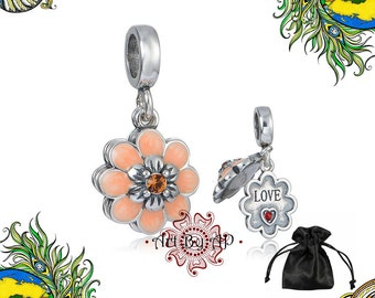 S925 Sterling Silver, Flower Love Pendant Charm, Orange,Red, fit Pandora,Necklace