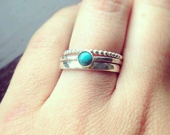 Stacking Rings, Turquoise Ring, Silver stacking rings, Rings Set, Turquoise jewellery, Silver Rings, December birthstone, UK rings