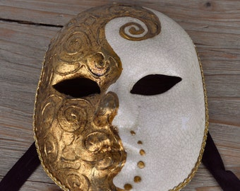 Venetian Carnival Mask Hand Made in Italy Gold and Cream The Volto