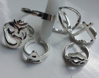 6 boho stack rings