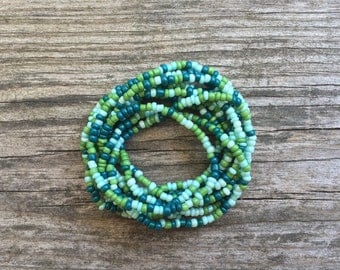 Long Seed Bead Layering Necklace - Sea Spray