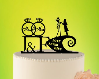 Wedding Cake Topper - jack and sally cake topper - jack sally wedding - wedding decor  jack and sally - Wedding Topper jack  sally L2-01-017