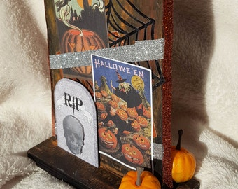 "CLEARANCE 10.25 Autumn mantle piece, Fall decor wood craft, mixed media: ""Spooky Mantle Piece"""