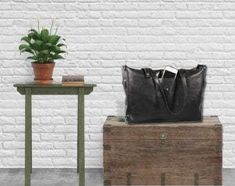 SALE LEATHER Tote Bag with zipper Handbag Handmade Purse, Minimalist, Leather Bags women, Bucket bag, Satchel, Soft lightweight, Cabas