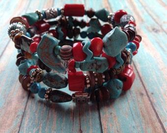 Layered Turquoise Southwest Boho Bracelet, Stone Boho Bracelet, Southwest Bracelet, Jewelry. Bracelet