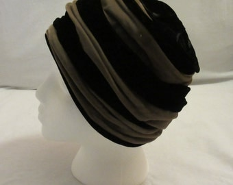 Black and Taupe Velvet Cloche Hat