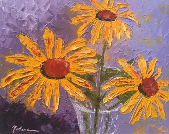 "original oil painting, palette knife, flowers, bright colors on artists panel, 8""x10"""