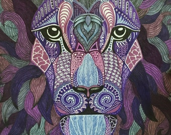 "Zentangle Lion - ""Justus (Panthera leo)"""