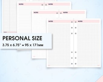 Notes filofax personal size planner inserts printable (grid notes paper printable, dot grid notebook, lined paper, graph paper, Cornell)