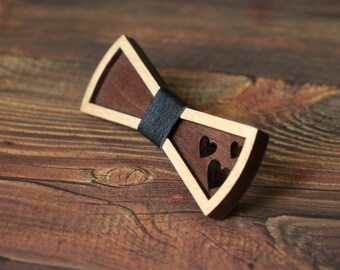 Women's Wooden 3D Bow Tie for women. 3D bow tie with black leather and heart. Little bow tie for girl and for women.