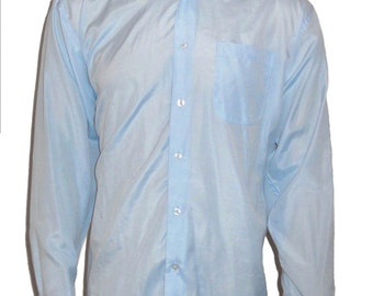 Vintage Baby Blue Dress Collared Long Sleeve Shirt Size M 15-15 1/2 34/35