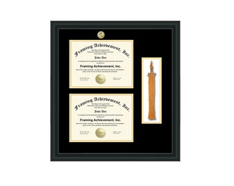 double diploma frame graduation tassel holder box with college major logo seal medallion degree college school certificate university - Diploma Frames With Tassel Holder