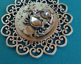 Large Steampunk Pendant with Vintage Watch Movement and Crab Charm