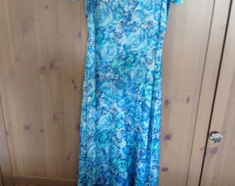 Beautiful Blue Floral 1970's Gown