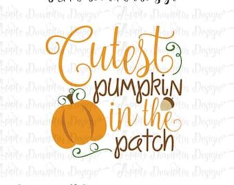 Cutest Pumpkin in the Patch SVG, DXF, PNG Cutting Files, Cricut, Silhouette Cameo, Vector Cut Files, Pumpkin Svg, Girl Svg, Fall Svg,