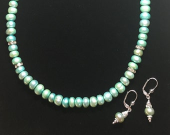 Teal button pearl necklace and silver-plated Swarovski earrings set