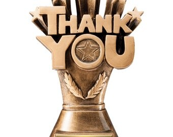 Thank You Trophy with 3 lines of custom text