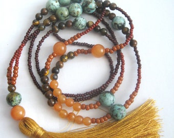 African turquoise necklace, silk tassel necklace, beaded jewelry