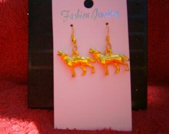 gold tone howling wolf earrings
