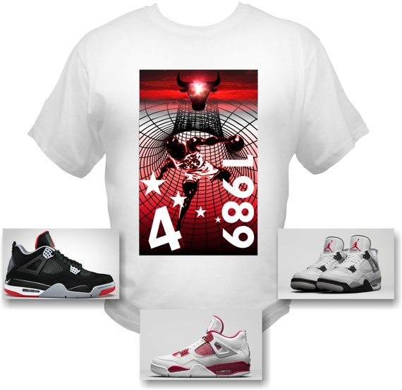 MJordan 4 Cement 4's Michael Jordan Air T-Shirt 89 RETRO CHICAGO BULLS