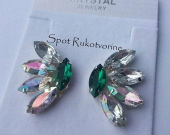 Handmade crystal rhinestone earrings