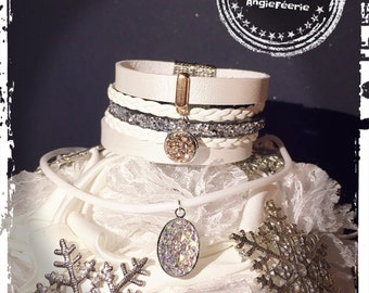 white silver necklace and bracelet