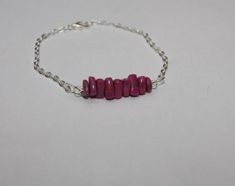 Bracelet, agate pink polymer clay, 21 cm