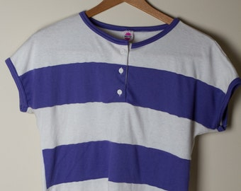 Purple and White Striped Three Button Tee (Small)