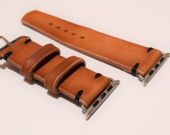 Apple Watch 42mm Vintage Hand Crafted Watch Strap  - Natural Oiled Veg Tanned Leather