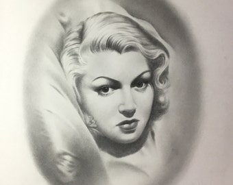 Pencil Portrait/ Graphite Portrait of Lana Turner