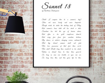 Literature Art Sonnet 18 William Shakespeare Wall Art Printable Art Poem Print Minimalist Wall Art Wall Decor Typography Black and White