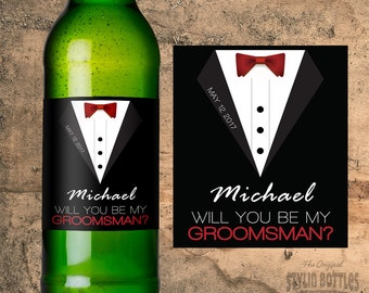 CUSTOM Groomsman Beer Bottle Labels, Wedding Beer Labels, Groomsman Beer Label, Will You Be My Groomsman, Beer Bottle Sticker, Beer Stickers