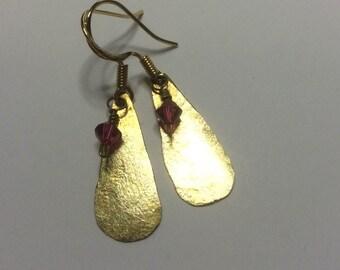 Hammered Brass Teardrops with Fushia Swarovski Crystals